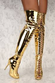 s high boots mirror gold peep toe high heels thigh high boots patent