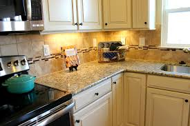 Kitchen Countertops White Cabinets Glass Tile Range Hood U0026 Granite Countertop Arrangement Idea In