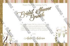 bridal shower thank you cards novel concept designs chagne brunch bridal shower thank