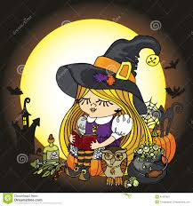 halloween background witch moon halloween witch reading book moon pumpkin cat stock vector