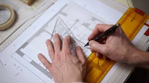 architect plan architectural plan pointing with red pencil stock video footage
