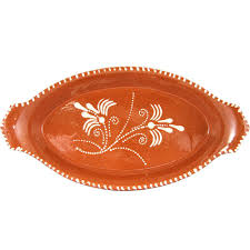 painted serving platters vintage portuguese glazed terracotta clay painted serving