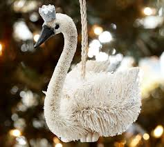 crowned swan ornament pottery barn