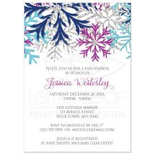 shower invitations turquoise navy orchid silver snowflake