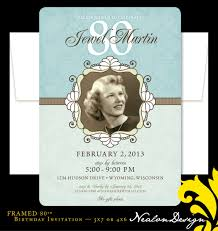 80th Birthday Invitation Cards Nealon Design Framed 80th Birthday