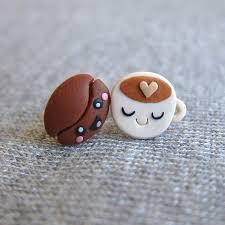 food earrings earrings coffee beans brown earrings stud earrings miniature