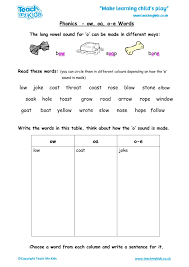 Oa Worksheets Phonics Ow Oa O E Words Tmk Education