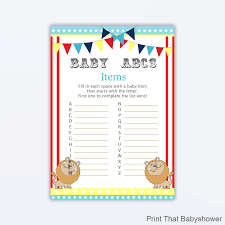 alphabet baby shower invitations baby shower games baby items abc game circus baby shower