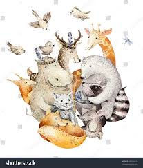 Baby Deer Nursery Cute Family Baby Fox Deer Animal Stock Illustration 685205479