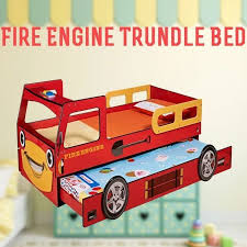 Fire Engine Bed Kids Single Mdf Fire Truck Bed Frame W Trundle Red Buy Novelty Beds