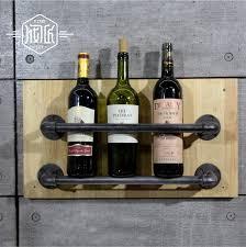 industrial pipe wine racks metal decorative wine holder wall