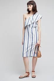 mel striped one shoulder dress blue anthropologie