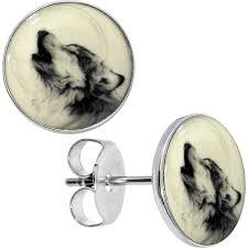 australian shepherd howling glow in the dark howling wolf stud earrings u2013 bodycandy