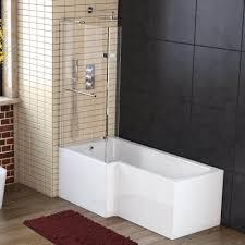 l shaped 1500mm shower bath glass screen u0026 panels left u0026 right