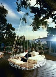 modern garden with hanging pod seating hanging chair modern