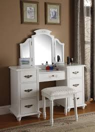 Nifty Mirror by White Wooden Vanity Table With Drawers And Three Mirror Panels