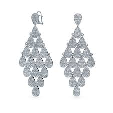 chandelier earrings teardrop micro pave cz chandelier earrings omega back