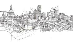 pen and ink drawings of london on pantone canvas gallery