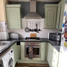 painting kitchen cabinets frenchic transforms outdated kitchen with less than 100 and
