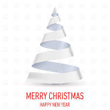 christmas tree made of white ribbon on white background vector
