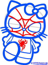 draw spiderman kitty step step characters pop