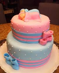 Pictures Of Baby Shower Cakes For Twins Pink Blue Bows Twins Baby
