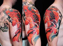 Koi Half Sleeve - half sleeve to quarter back koi fish chronic ink