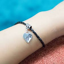 heart leather bracelet images Paw prints on my heart vegan leather bracelet jpg