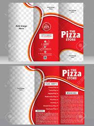 tri fold pizza brochure template design vector illustration