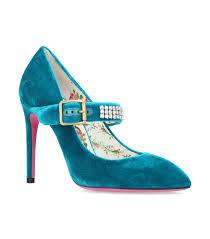 gucci velvet sylvia pumps 105 in blue lyst