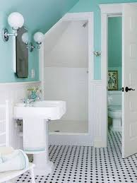 Wainscoting In Bathroom by Small Bathroom Designs With Pedestal Sink And Aqua Blue Wall And