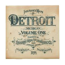 detroit 1800s fire insurance map drink coaster well done goods