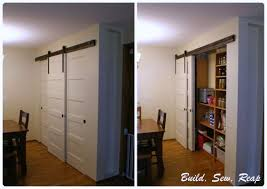 Build Closet Door Sliding Pantry Door Using Barn Door Hardware Build Sew