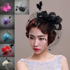 retro hair accessories women retro bow feather net veil wedding fascinator hat clip hair