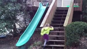 installed a fun plastic slide off our back deck 14 ft plastic