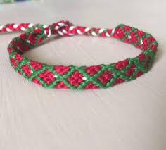red friendship bracelet images Friendship bracelet christmas red green white diamond etsy jpg