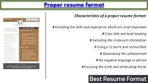 Proper Resume Template Best Resume Format Sample
