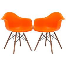 Eames Plastic Armchair Daw Set Of 2 Eames Style Molded Plastic Dowel Leg Armchair Daw