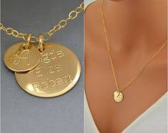 14k Gold Initial Disc Necklace Gold Monogram Necklace Engraved Disc Necklace Personalized