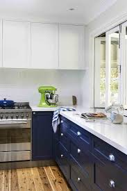 White And Blue Kitchen Cabinets White Upper Cabinets Navy Blue Lower Cabinets Design Ideas