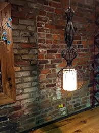 vintage industrial pendant light with bulb cage copper lamp