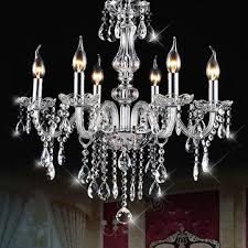 Dining Room Crystal Chandeliers E12 6 Heads Clear Crystal Chandelier Dining Room Bedroom Ceiling