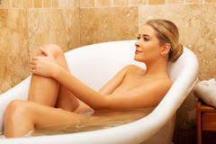 Women Bathtub Woman Bathing In Bathtub In Beautiful Bathroom Stock Images