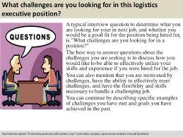 logistics executive interview questions
