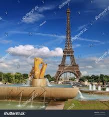 Large Eiffel Tower Statue Statue Horse On Fountain De Varsovie Stock Photo 116068681