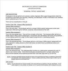 office assistant job description template 9 free word pdf