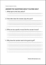 reading comprehension fictional printable worksheets for grades k