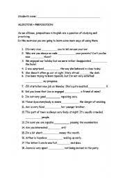 esl worksheets for adults adjective preposition