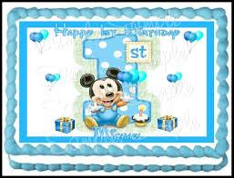 baby mickey 1st birthday baby mickey 1st birthday edible frosting sheet 1 4