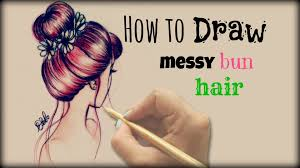 drawing tutorial how to draw and color messy bun hair youtube